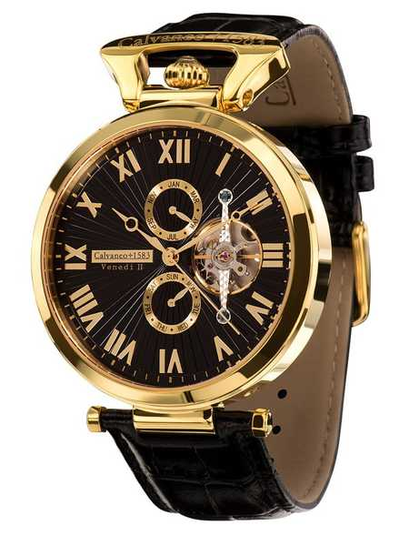 Calvaneo 1583 Venedi Gold Black High Luxury Automatikuhr vergoldet