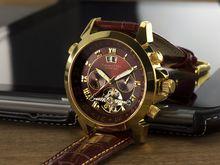 """Calvaneo 1583 Astonia """"Luxury Cognac GOLD"""" Automatikuhr Kalenderkomplikation"""