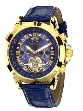 "Calvaneo 1583 Astonia ""Diamond Gold Blue"" Diamantbesatz - Automatikuhr"