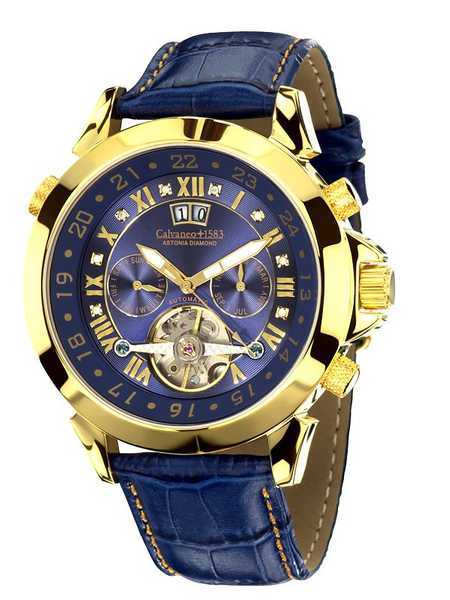 Calvaneo 1583 Astonia Diamond Gold Blue Diamantbesatz - Automatikuhr