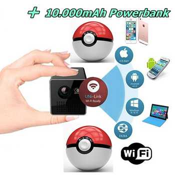 + 10.000mAh Powerbank Akku + HD Wifi Smartphone Beamer mini DLP WIFI Mobile Projektor für SMARTPHONE TABLET PC IPHONE IPAD 001