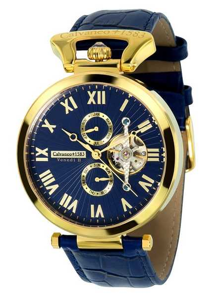 Calvaneo 1583 Venedi Gold BLUE  High Luxury Automatikuhr vergoldet 001