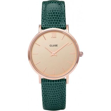 Cluse Minuit Rose Gold Champagne/Emerald Lizard CL30052