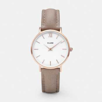 Cluse Minuit Rose Gold White/Hazelnut CL30043