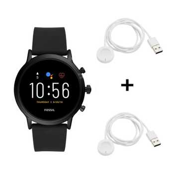 Black Friday Fossil The Carlyle HR FTW4025 Smartwatch + 2x Black Friday Fossil Q Ladekabel