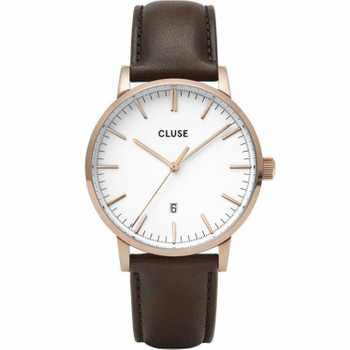 Cluse Aravis Leather, Rose Gold, White/Dark Brown CW0101501002