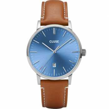 Cluse Aravis Leather, Silver, Blue/Light Brown CW0101501005