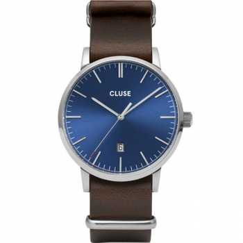 Cluse Aravis Nato Leather, Silver, Dark Blue/Dark Brown CW0101501008