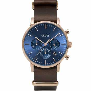 Cluse Aravis Chrono Nato Leather, Rose Gold, Dark Blue/Dark Brown CW0101502008