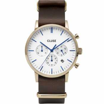 Cluse Aravis Chrono Nato Leather, Gold, White/Dark Brown CW0101502009