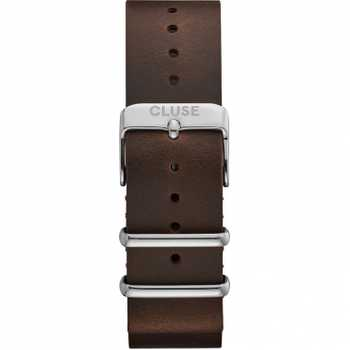 Cluse CS1408101069 Strap 20 mm Nato Leather, Dark Brown/ Silver