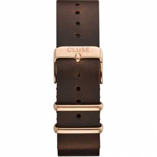 Cluse CS1408101070 Strap 20 mm Nato Leather, Dark Brown/ Rose Gold