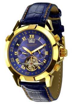 Calvaneo 1583 Astonia Luxury Blue GOLD Automatikuhr Kalenderkomplikation