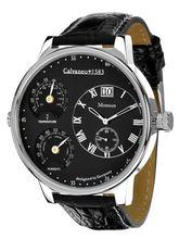 Calvaneo 1583 Monsun Steel Black Rain Magnificent Men Weather Station Clock