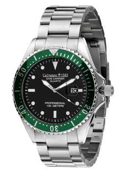 Calvaneo 1583 Dive Carrier Black Green Professional 46mm Diver Uhr