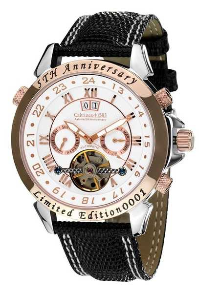 Calvaneo 1583 Astonia 5th Anniversary Steel Rose Gold Cream Automatic complication 001