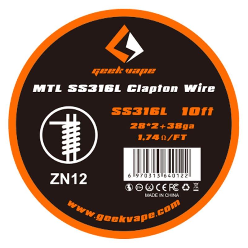 GeekVape MTL Wickeldraht SS316L Clapton 28GAx2 + 38GA 3 Meter – Bild 1