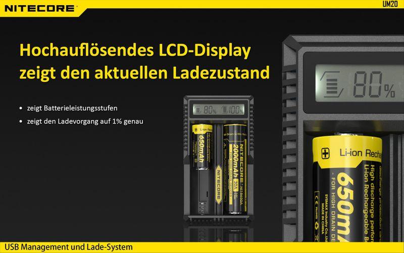 Nitecore Sysmax UM20 2-Schacht Ladegerät – Bild 5