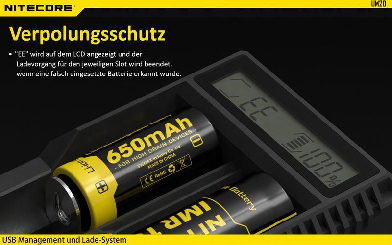 Nitecore Sysmax UM20 2-Schacht Ladegerät – Bild 6