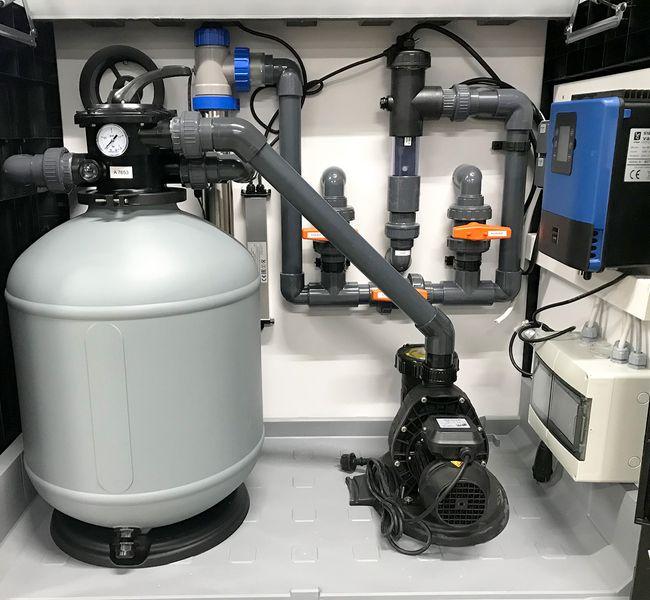 conZero Pool Technikbox - Pooltechnik + Optional: Elektrik vorinstalliert im Werk - Zuleitungen anschließen - fertig