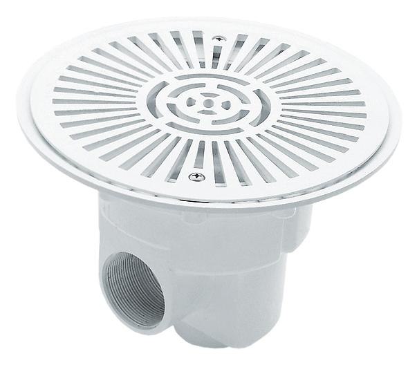Bodenablauf aus ABS für Folienbecken mit Antiwirbeldeckel