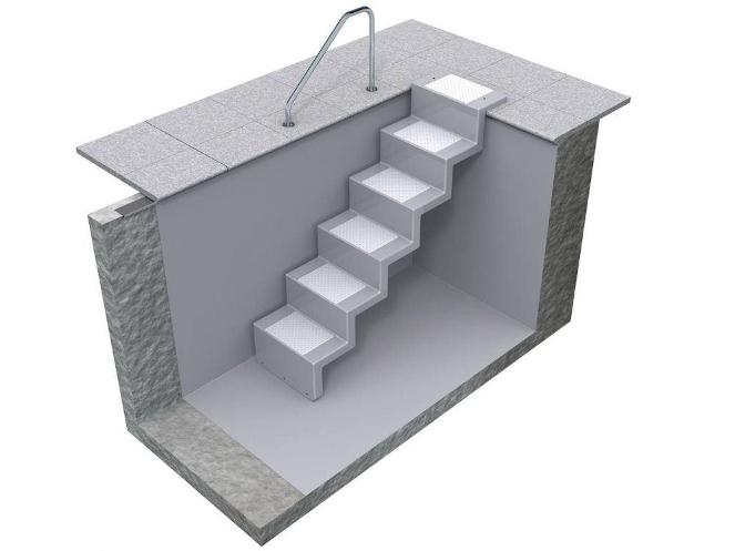 Universaltreppe zum nachträglichen Einbau - 5 stufig lang mit Plattform