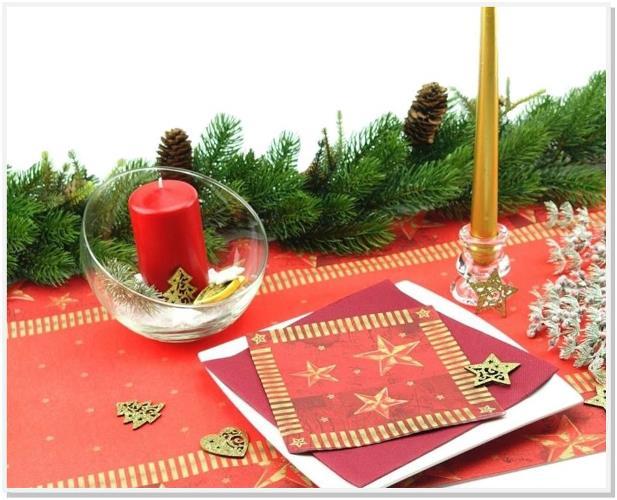 Servietten mit Tischläufer Weihnachten