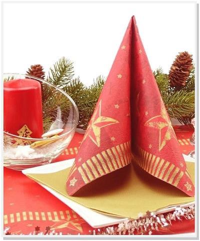 Weihnachtsservietten-rot-gold