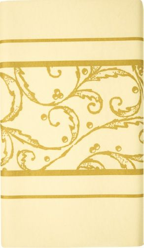 Airlaid Tischdecke 180 x 120cm - SCROLL creme/gold