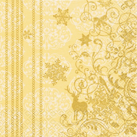 Lunch Weihnachtsservietten 33 x 33 cm - CHRISTMAS LACE creme/gold
