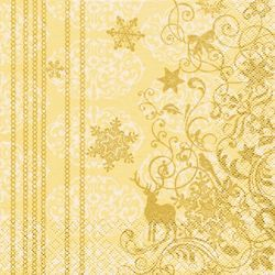 Lunch Weihnachtsservietten 33 x 33 cm - CHRISTMAS LACE creme/gold 001