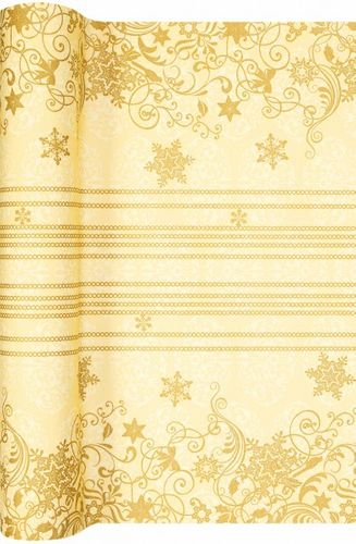 Airlaid Tischläufer 490 x 40cm - CHRISTMAS LACE creme/gold