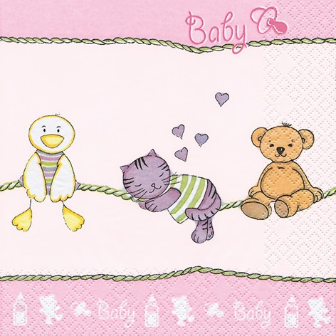 Lunch Serviette Taufe 33 x 33 cm - BABYS FRIENDS rose