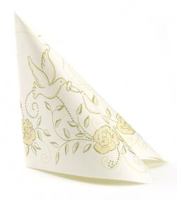 50 Airlaid Hochzeitservietten 40x40 cm DESIGN - HOCHZEIT creme gold 001