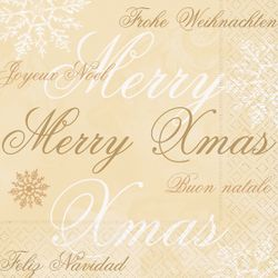 Lunch Serviette Weihnachten - WISHES FOR XMAS gold 001
