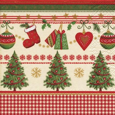 Lunch Weihnachtsservietten 33 x 33 cm - TRADITIONAL CHRISTMAS