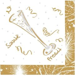 250 Airlaid Cocktail Servietten 25x25 cm - SILVESTER gold silber
