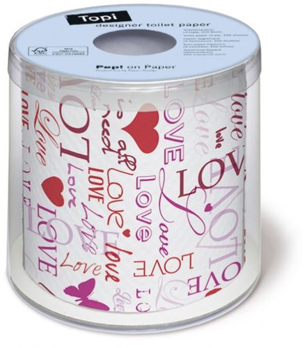 Bedrucktes Toilettenpapier bedruckt mit DESIGN ALL YOU NEED IS LOVE