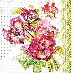 Lunch Servietten Blumen 33 x 33 cm - DESIGN PAINTED PANSY 001