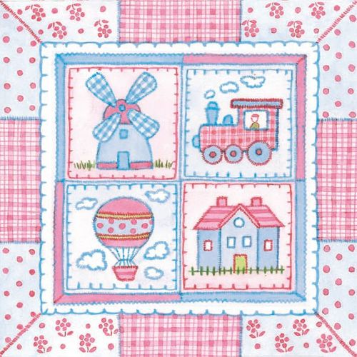 Lunch Servietten Taufe bedruckt - DESIGN CHILDREN'S PATCHWORK