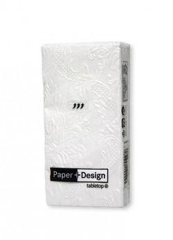 Geprägte Taschentücher - Design MOMENTS ORNAMENT pearl weiß 001