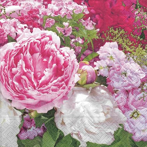 Lunch Serviette 33x33 cm bedruckt - DESIGN FRAGRANT PEONIES