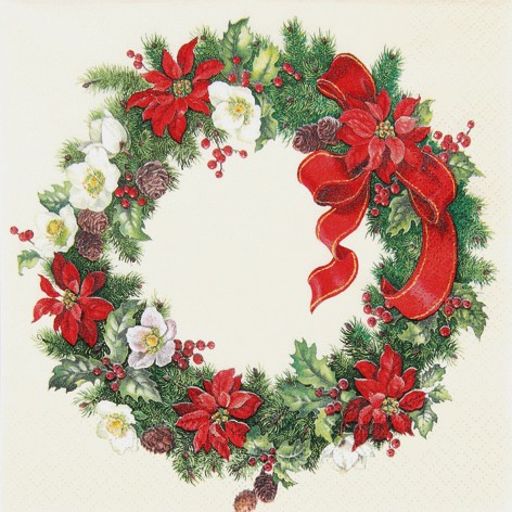 Lunch Weihnachtsservietten 33 x 33 cm- DESIGN CHRISTMAS WREATH