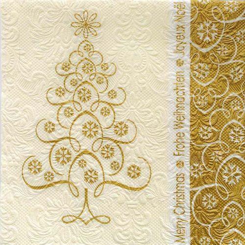 Prägeservietten Weihnachten 33x33cm - DESIGN SNOWCRYSTALS TREE gold