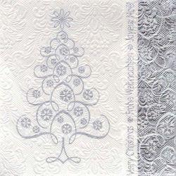 Prägeservietten Weihnachten 33x33cm - DESIGN SNOWCRYSTALS TREE silber 001