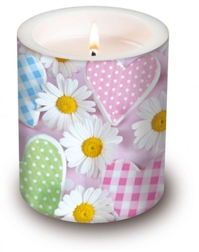 Lampion Kerze Taufe - Design DAISIES AND HEARTS