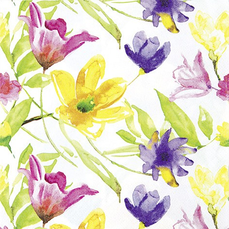 Lunch Servietten Aquarell Blumen 33 x 33 cm - Design LUCY