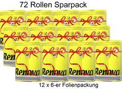 72 Rollen farbiges buntes Toilettenpapier 2-lagig - GELB 001