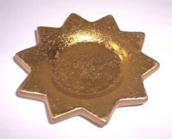 6 Untersetzer Keramik Stern 10cm - RUSTIKAL GOLD