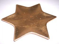 6 Untersetzer Keramik Stern 19cm - GOLD METALLIC